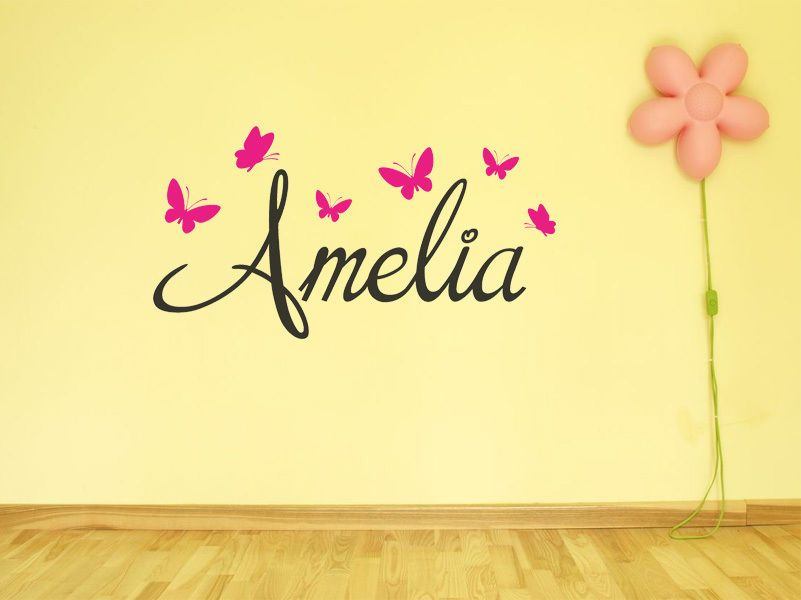 PERSONALISED Name With Butterflies Wall Art Sticker Modern Decal Vinyl